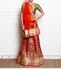 maroon & orange bead embellished & embroidered velvet lehenga set