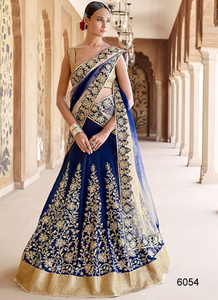blue and golden color silk and net lehenga