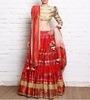 red & gold embroidered chanderi silk lehenga set