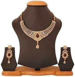 touchstone red wedding & engagement wear necklace set