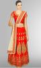 Red & Beige Embroidered Banglori Silk Lehenga