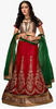 Manvaa Red Embroidered Lehenga