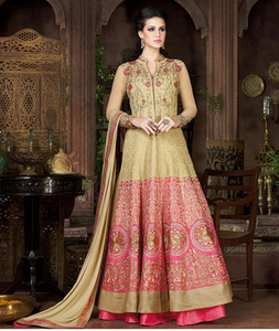 Silk Hand Work Beige & Pink Unstitched Long Anarkali Suit - A4801