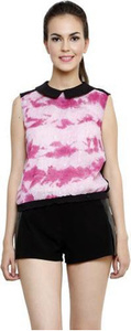 i am for you casual sleeveless self design women's pink top