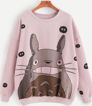 Pink Cartoon Print Drop Shoulder Seam Sweatshirt