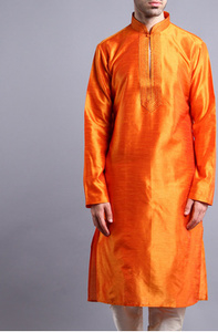 Orange Dupion Silk Kurta Pyjama With Thread Work