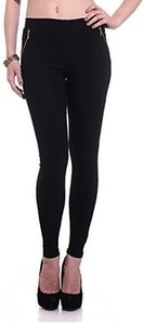 Hightide Women's Black Cross Zipper Cotton Lycra Jeggings (HNM103XL)