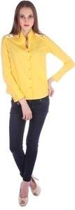 Qbee Women's Solid Casual Yellow Shirt