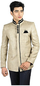Traditional Light Golden Colored Jute Blazer