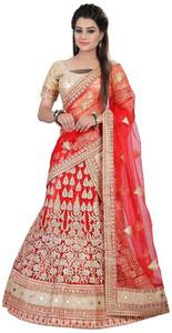 Shree fashion red Net Unstitched Unstitched Lehenga
