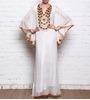 white embellished nylon kaftan style dress